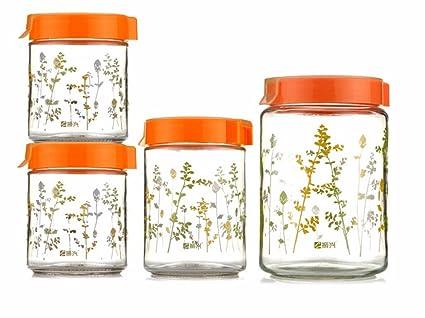 Vidrio jarra sellada de pickle jar una botella de vino dulce de leche miel frasco de