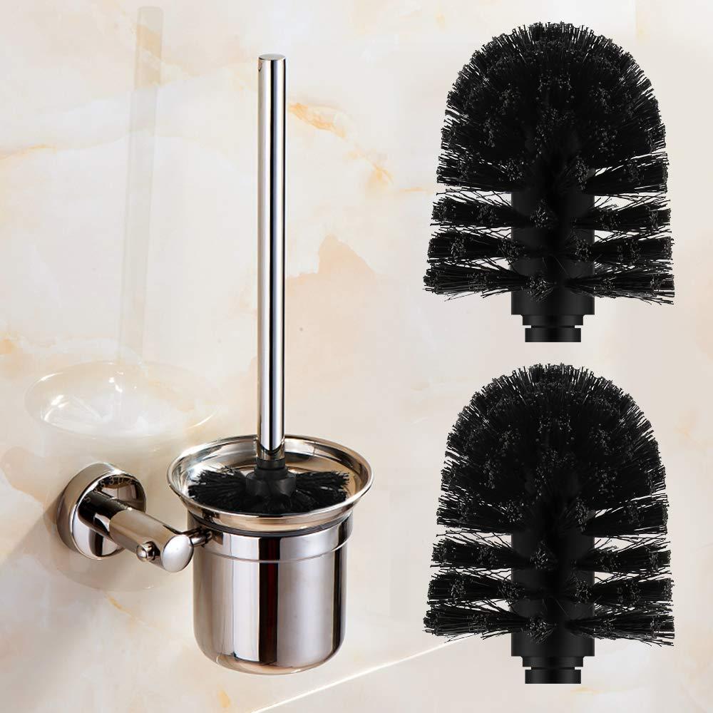 Escobilla de Recambio Vegena 2 Pcs Escobilla de Ba/ño Negro WC Cepillo para Inodoro Acero Inoxidable