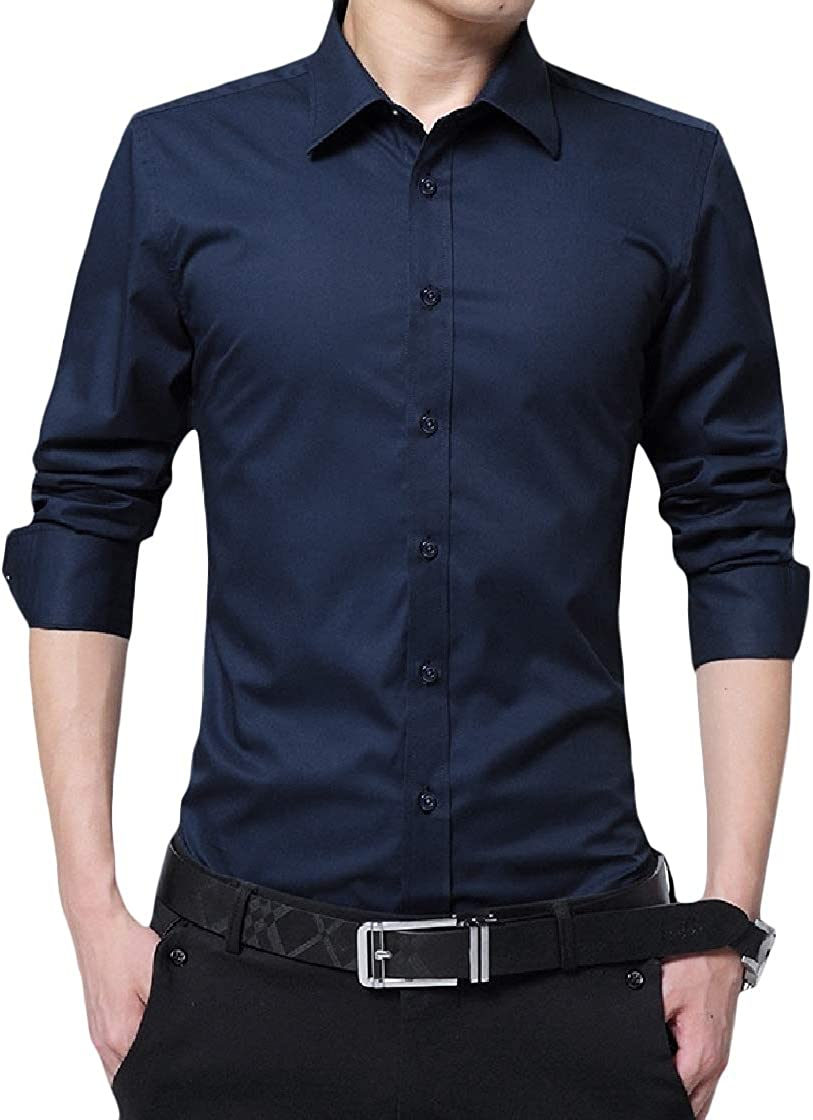 YUNY Mens Solid Business Plus Size Curvy Long Sleeve Lapel Button Top Shirt Dark Blue M