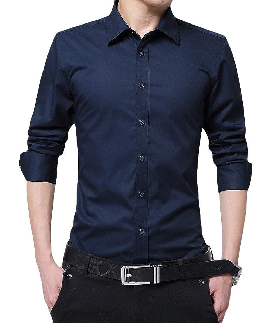 YUNY Mens Solid Business Plus Size Curvy Long Sleeve Lapel Button Top Shirt Dark Blue 6XL
