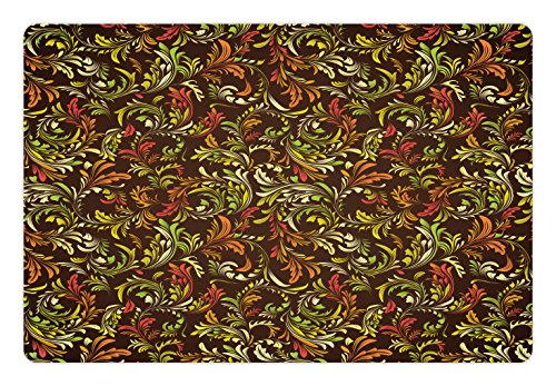 - Ambesonne Earth Tones Pet Mat for Food and Water, Antique Scroll Pattern with Royal Theme and Classical Details Curly Leaf Motifs, Rectangle Non-Slip Rubber Mat for Dogs and Cats, Multicolor