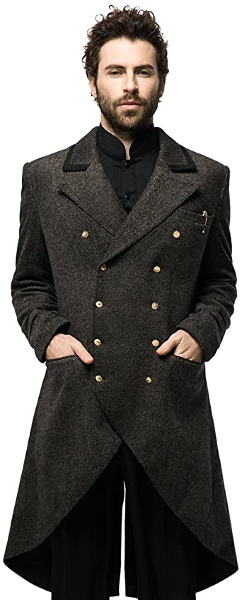 Intuizione Convergere Devise  Fanplusfriend Steampunk Retro Wool Blend Coat Mens Coats Jackets Frock Coat  Long Coat at Amazon Men's Clothing store