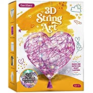 3D String Art Kit for Kids - Makes a Light-Up Heart Lantern - 20 Multi-Colored LED Bulbs - Kids Gifts - Crafts
