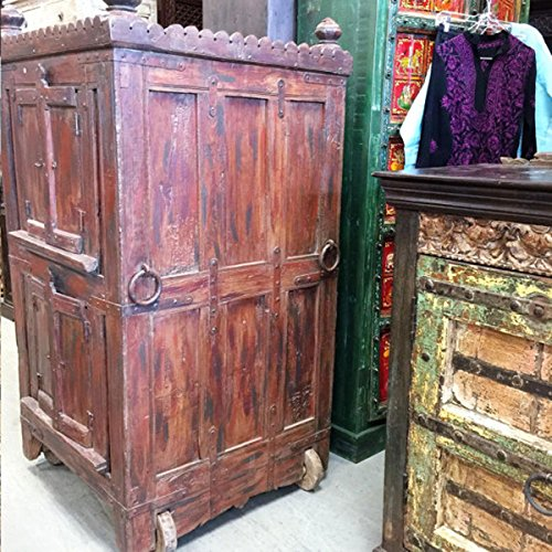 Mogulinterior Antique Almirah Furniture Red Cabinet Vintage Indian Armoire on wheels Mediterranean Boho Shabby Chic (Indian Armoire)