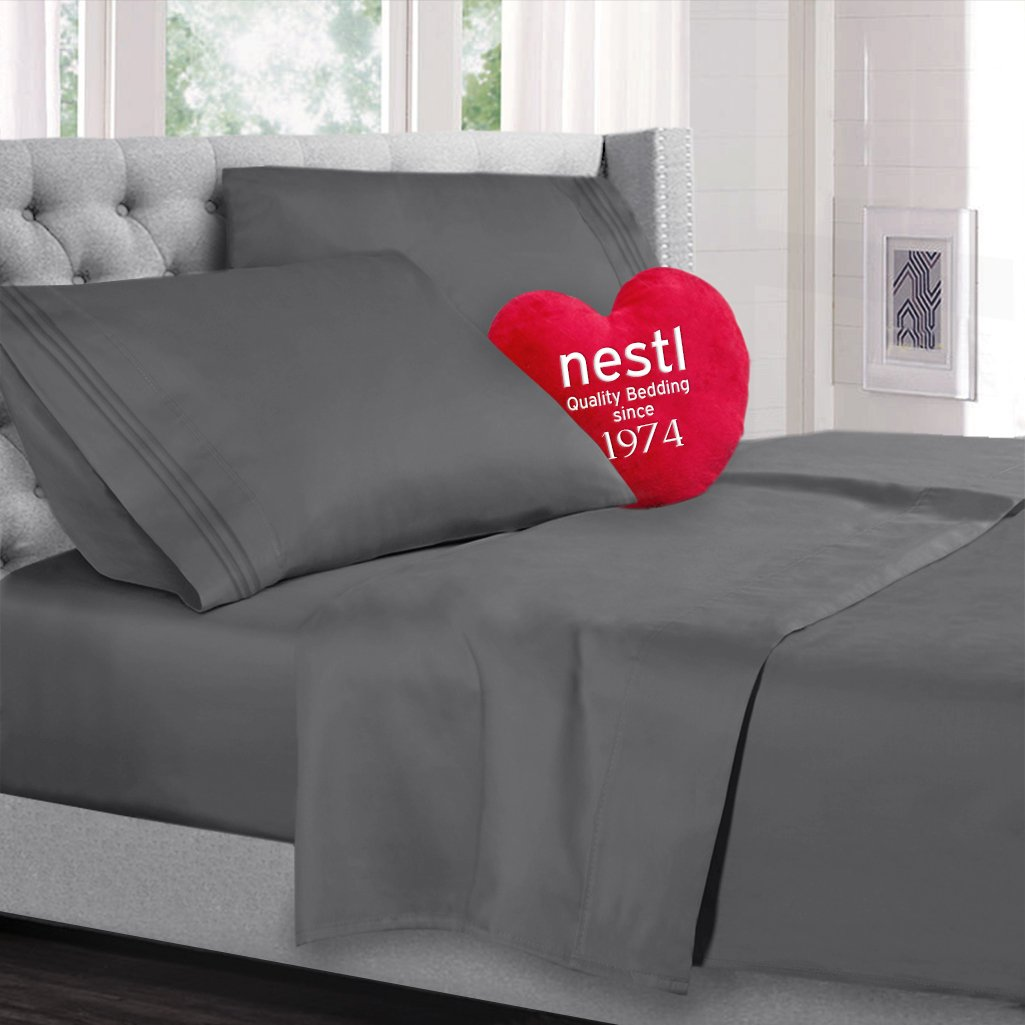 Twin Size Bed Sheets Set, Grey Charcoal Gray