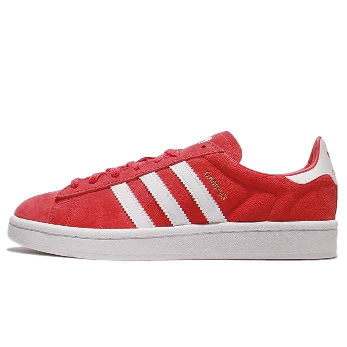 Rote Damen adidas Campus Sneaker mit weißen Streifen