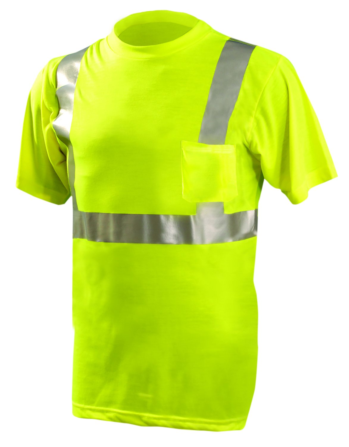 OccuNomix LUX-SSETP2-YL ANSI Class 2 Standard Wicking Short Sleeve T-shirt, Large, Yellow