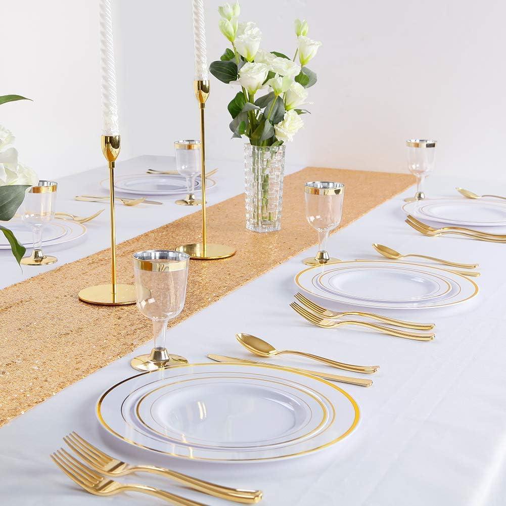 Perfecto para Catering Fiestas y Eventos(Oro) 30 Platos de postres//Ensalada 19cm DRROT 60 Platos de Pl/ástico Duro Desechables,Reutilizable y Reciclable Contiene: 30 Platos 26cm Bodas