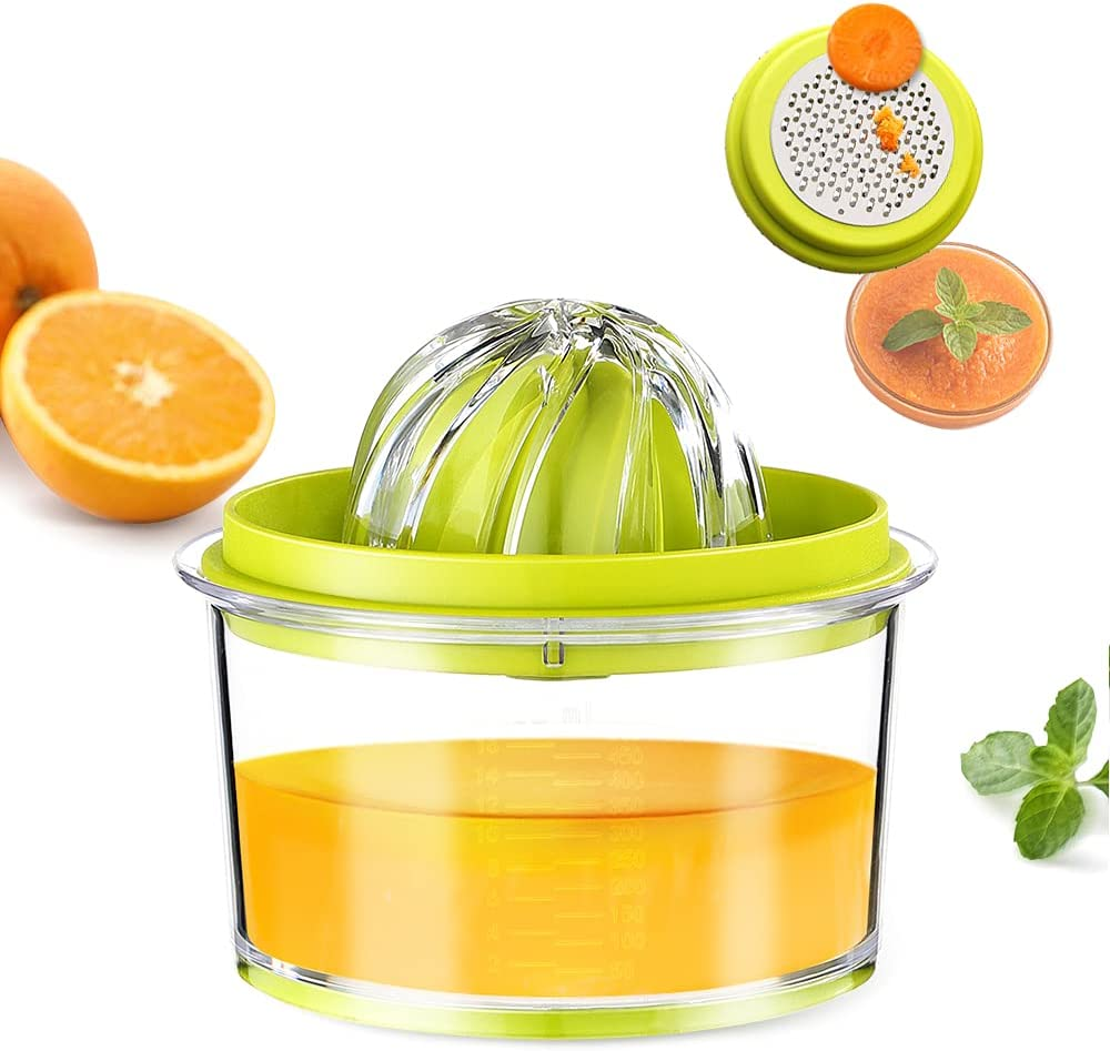 G.a HOMEFAVOR Citrus Lemon Orange Juicer, Manual Hand Squeezer with Built-in Measuring Cup and Grater, 4 in 1 16OZ Multi-function Manual Juicer with Multi-size Reamers Garlic Ginger Cheese Grater