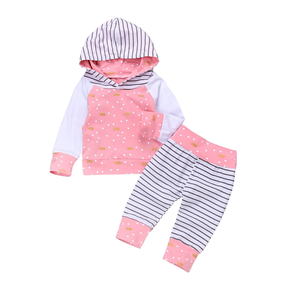 HAOKTY Baby Mädchen Kleidungs Outfit Trainingsanzug Langes mit Kapuze Sweatshirts und Gestreiftes Sweathosen Sweatanzüge für 0-2 Jahre Kleine