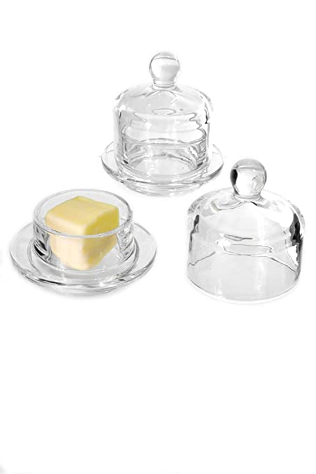Butter Dish Glass Round with Glass Cover