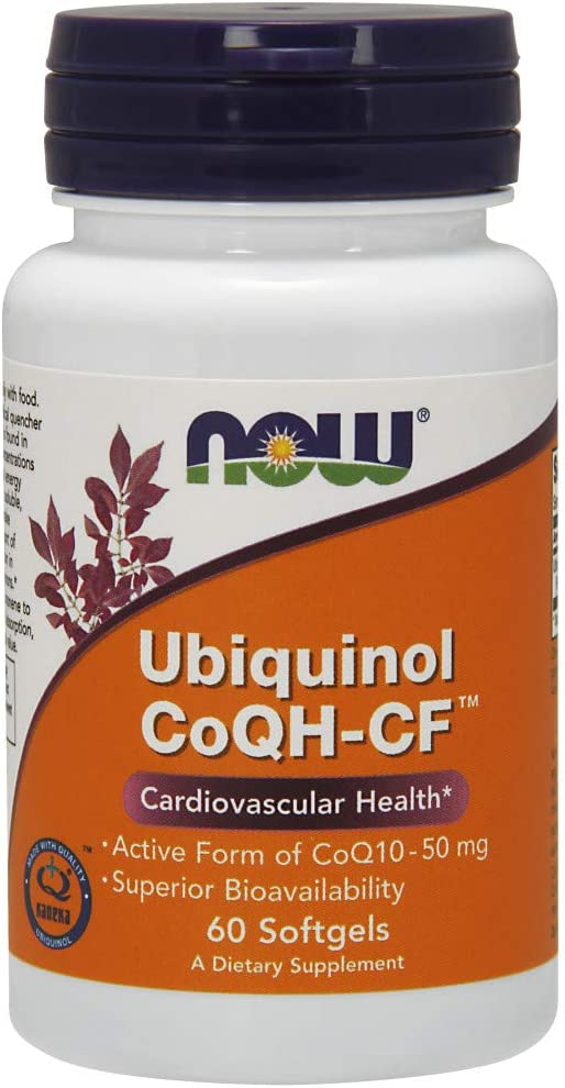 NOW Supplements, Ubiquinol CoQH-CF (the Active Form of CoQ10 - 50 mg with Superior Bioavailability), 60 Softgels
