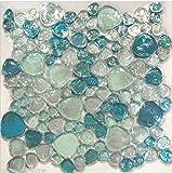 USA Premium Store 10SF-Blue Iridescent Random Pattern Glass Mosaic Tile Backsplash Kitchen Spa