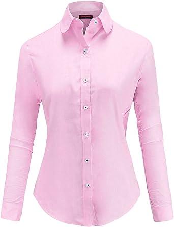 Dioufond Oxford Camisas para Mujer Botones Camisas de Trabajo: Amazon.es: Ropa y accesorios