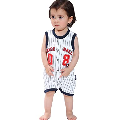 Ding Dong Baby Boys Striped Sport Romper Blue6m