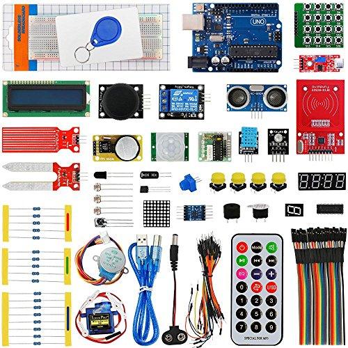 For Arduino UNO R3 Starter Kit, Akozon RFID Super Starter Kit UNO R3 Development Board Set Servo Motor Modules Sensors Parts US Plug (Card Snap Expansion)