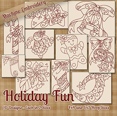 (Holiday Fun Redwork Embroidery Machine Designs on CD for Embroidery Machine - 10 Cute Holiday Patterns - 2 Sizes Each - PES JEF EXP XXX VIP HUS DST)