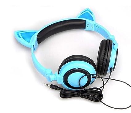 csmarte orejas de gato auriculares con luces LED de Glowing en los oídos auriculares para juegos