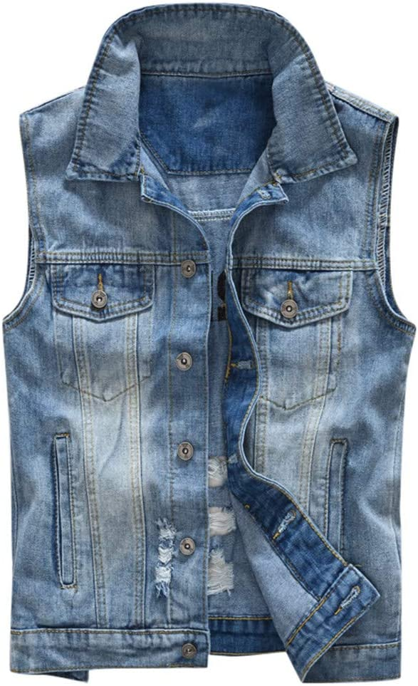 Wenini Mens Denim Vest Casual Cowboy Jacket in Shoulder Blouse