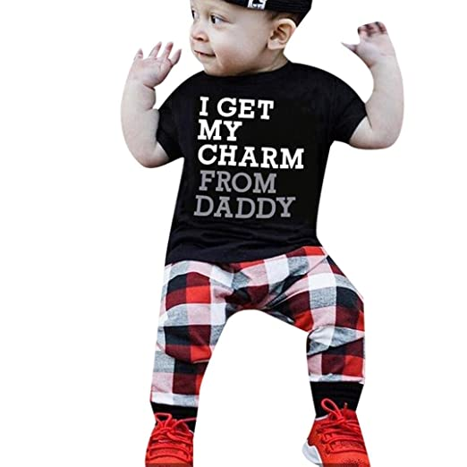 21c0caf4676f Amazon.com  FEITONG 2018 2Pcs Toddler Kids Father s Day Baby Boy Letter T  Shirt Tops+Plaid Pants Outfits Clothes Set  Clothing