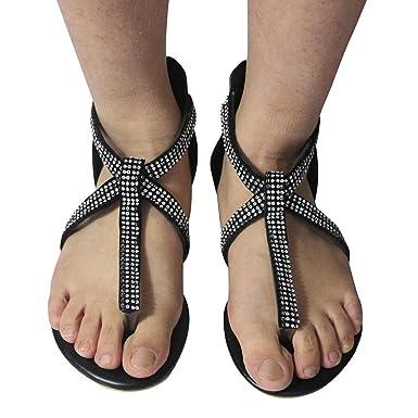 fe09fd80374d Baiggooswt Women Bling Rhinestone Pearl Wedding Dress Thong Flat Jeweled  Roma Sandals Black