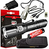 Klarus FX10 SUPER BUNDLE Includes Adjustable Focus Flashlight, 18650 Battery, Holster, USB Charging Cable, Lanyard, USB Car Adapter, USB Wall Adapter, and Mini USB Light