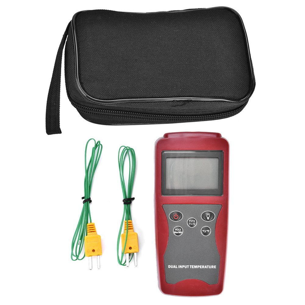 Digital K Type Thermocouple Thermometer Dual Channel LCD Backlight Temperature Meter Tester