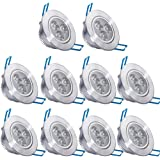 10 Pack,Pocketman 110V 3W Dimmable LED Ceiling Light Downlight,Warm White Spotlight Lamp Recessed Lighting Fixture,with LED Driver