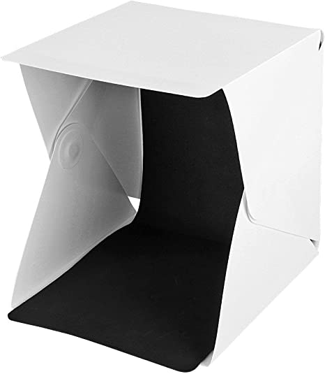 Kit de estudio fotográfico portátil con LED caja de luz mini para fotografia 24 x 22 x 24 cm tienda de luz 2 fondos (negro, blanco): Amazon.es: Electrónica