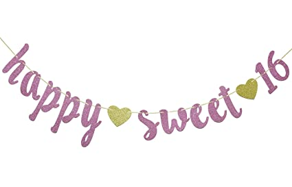 Amazon Happy Sweet 16 SIgn Rose Gold Sixteen Banner