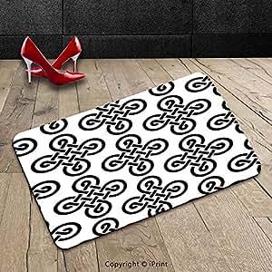 Custom lavable a máquina alfombrilla de puerta decoración de la celta por diseño antiguo irlandés celta nudo motivos en simétrico Regular diseño cultura europea tema Decoración Negro Color Blanco para Interiores/al aire libre Felpudo alfombra alfombra alfombra