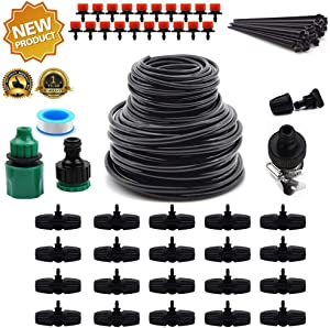 "Flantor Garden Irrigation System,100ft Irrigation System 1/2"" & 1/4"" Blank Distribution Tubing Watering Drip Kit/Irrigation Kits Automatic Mist Irrigation Equipment Set for Garden,Flower Bed,Lawn"