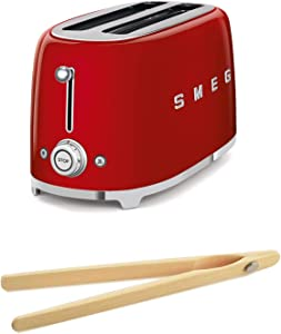 Smeg TSF02RDUS 50's Retro Style Toaster Bundle with Norpro Bamboo Tongs - (Red) 4 Slice