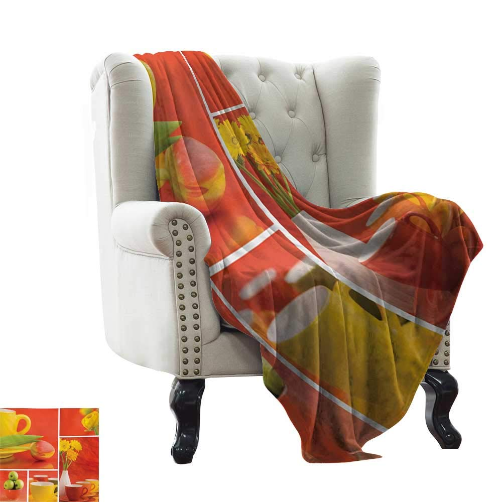 Anyangeight Kitchen,Custom Design Cozy Flannel Blanket,Tea and Coffee Cups Composition in Warm Colors Flowers Tulips and Apples 50''x30'',Super Soft and Comfortable,Suitable for Sofas,Chairs,beds