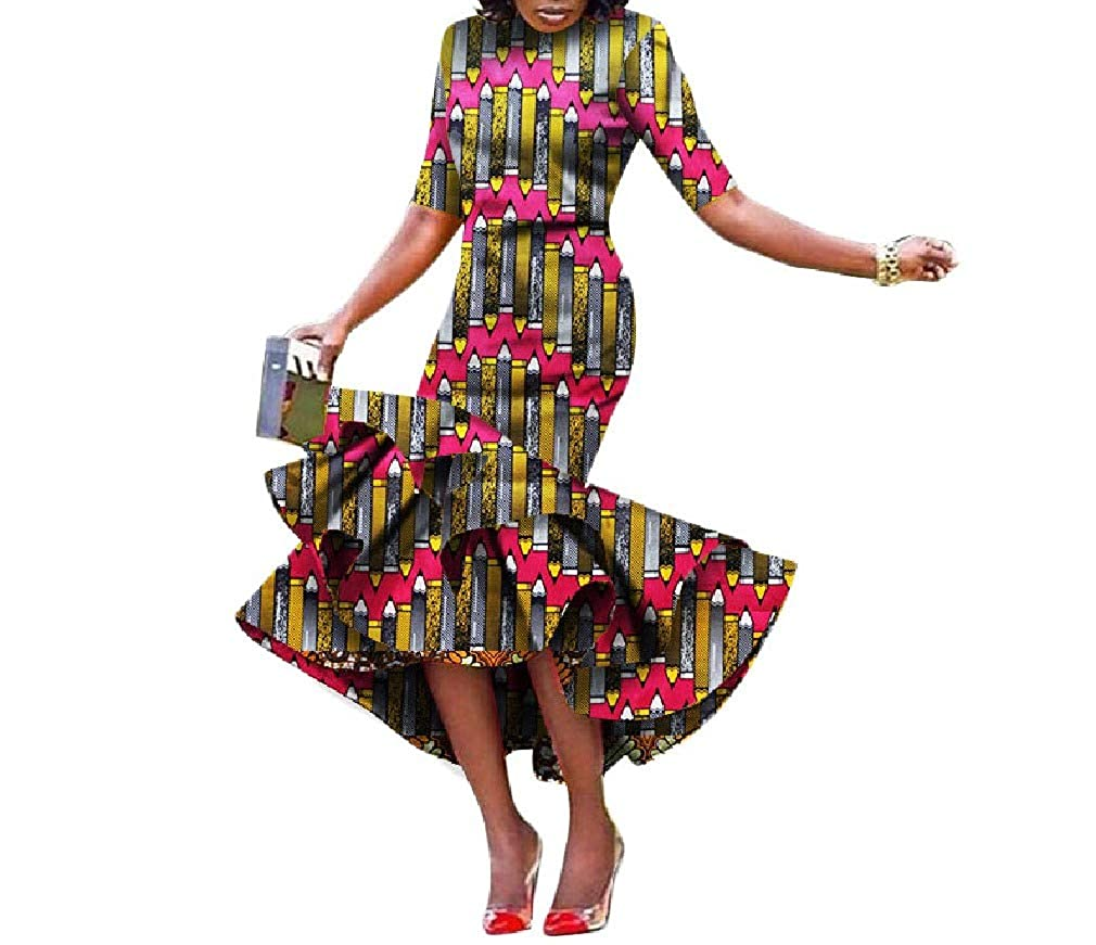 3 Cobama Womens Fishtail Floral African Print Bodycon Long Short Sleeve Dress