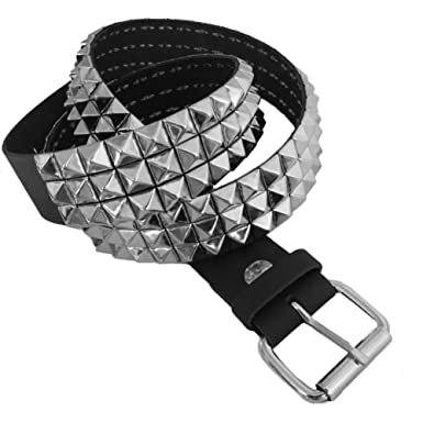 Bullet 69 Black 3 Row Small Pyramid Studded Leather Belt 38mm