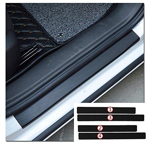 BENZEE 4pcs Car Door Sill Scuff Welcome Pedal Protect Carbon Fiber Stickers For AUDI A3 A4 A5 A6 A7 A8 Q3 Q5 Q7 PORSCHE Carrera Boxster Cayman Cayenne Panamera