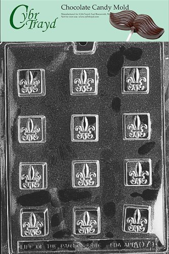Cybrtrayd Life of the Party AO079 Fleur-de-lis Chocolate Candy Mold in Sealed Protective Poly Bag Imprinted with Copyrighted Cybrtrayd Molding -