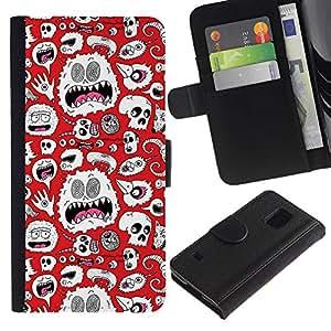 Billetera de Cuero Caso Titular de la tarjeta Carcasa Funda para Samsung Galaxy S5 V SM-G900 / Alien Monster White Wallpaper Art Skulls / STRONG