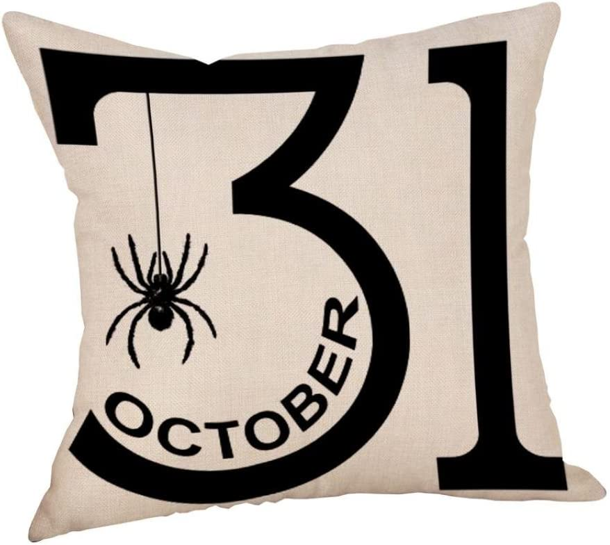 Letter LafyKoly Halloween Decoration Trick or Treat Cotton Blend Cushion Cover Set of 4 Throw Pillow Covers 18x18 inch