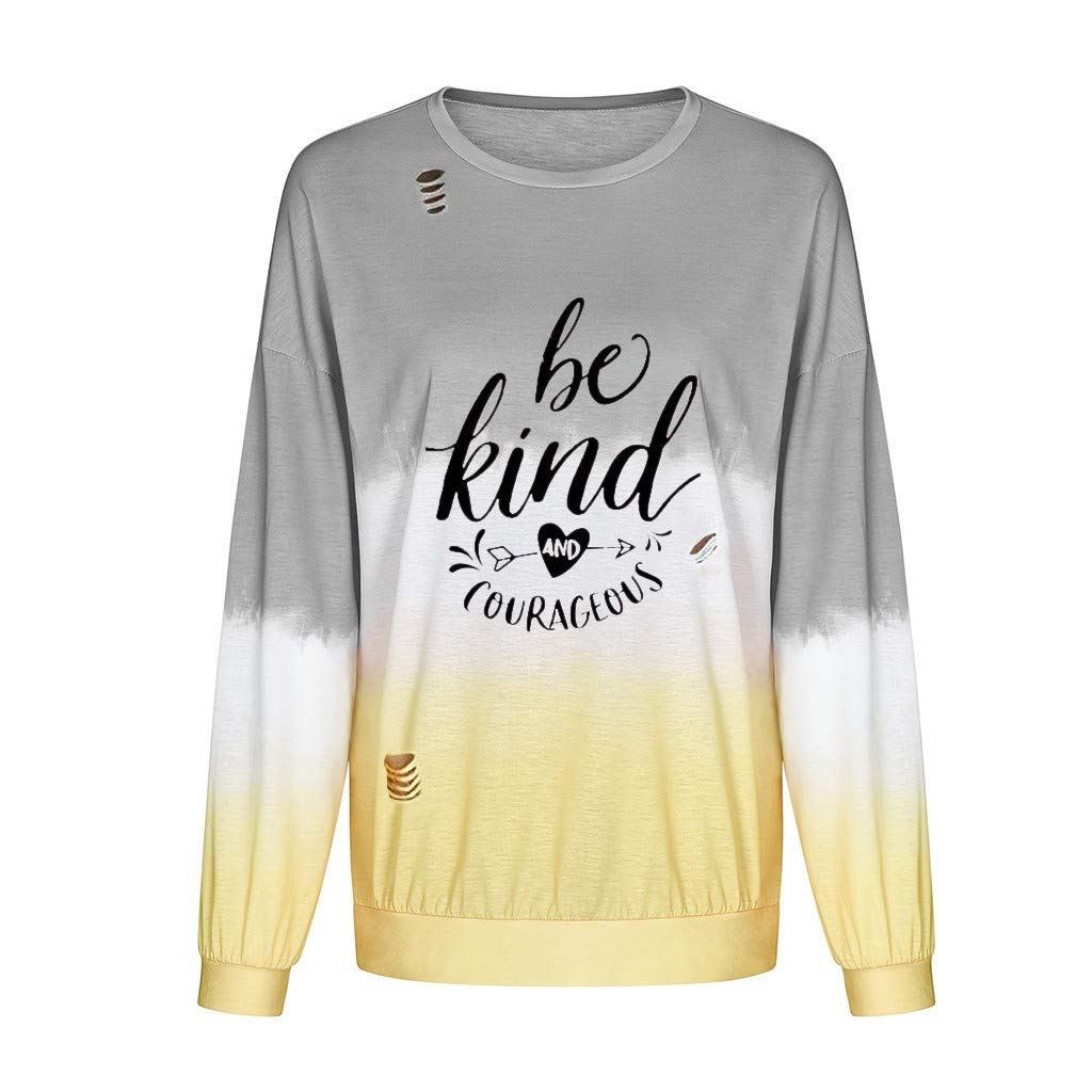 Womens Shirts Long Sleeve Fashion Letter Round Neck Gradient Contrast Color Blouses Sweatshirts Pullover Tops