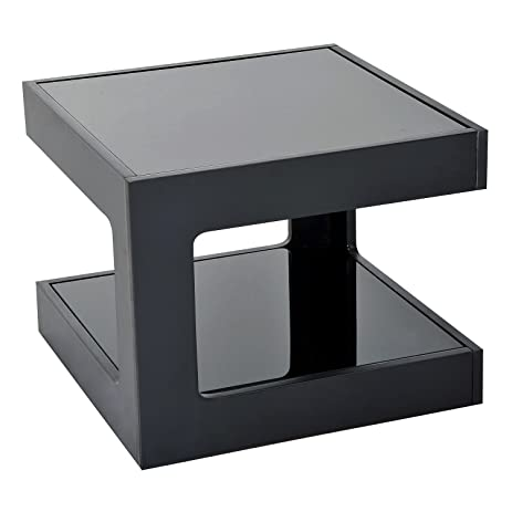 New Black Modern Square Cube Coffee Side Sofa End Table W/ Glass Top Living  Room