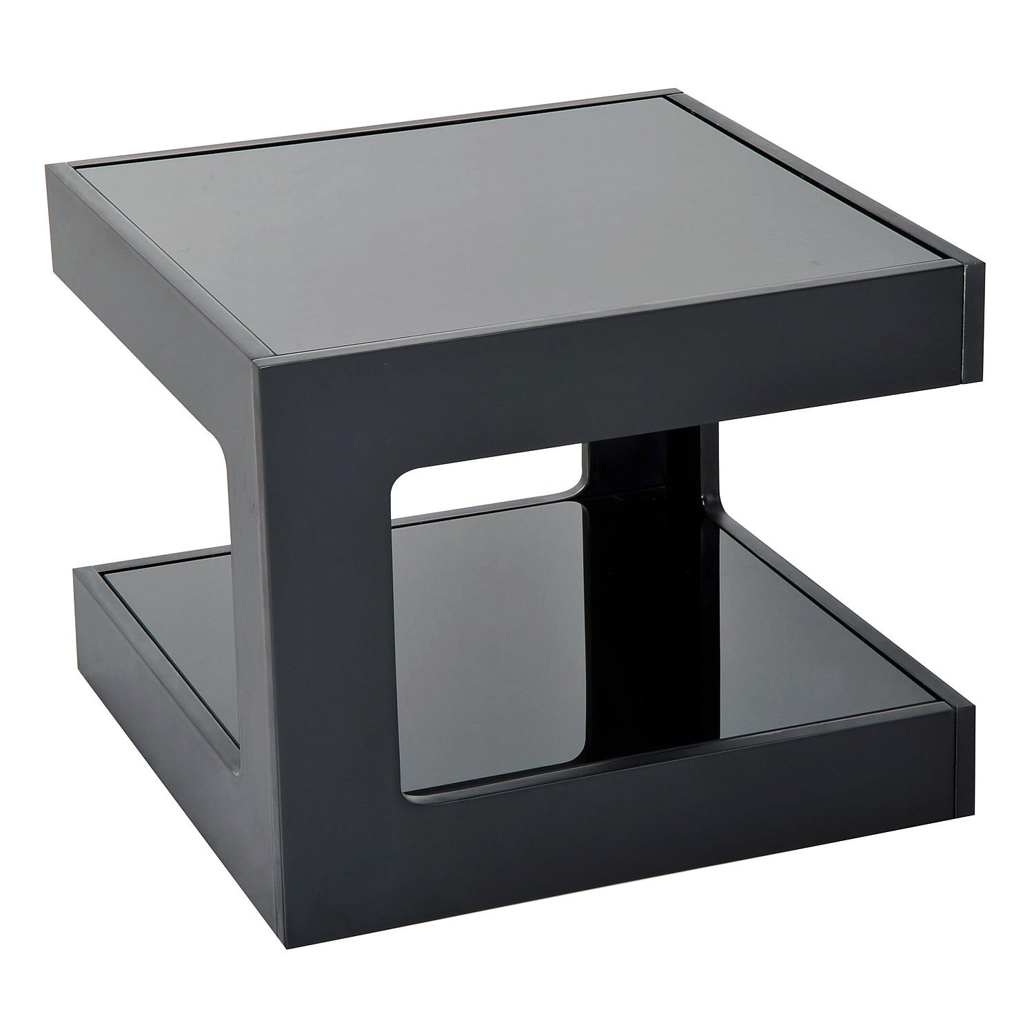 New Black Modern Square Cube Coffee Side Sofa End Table w/ Glass Top Living Room Furniture