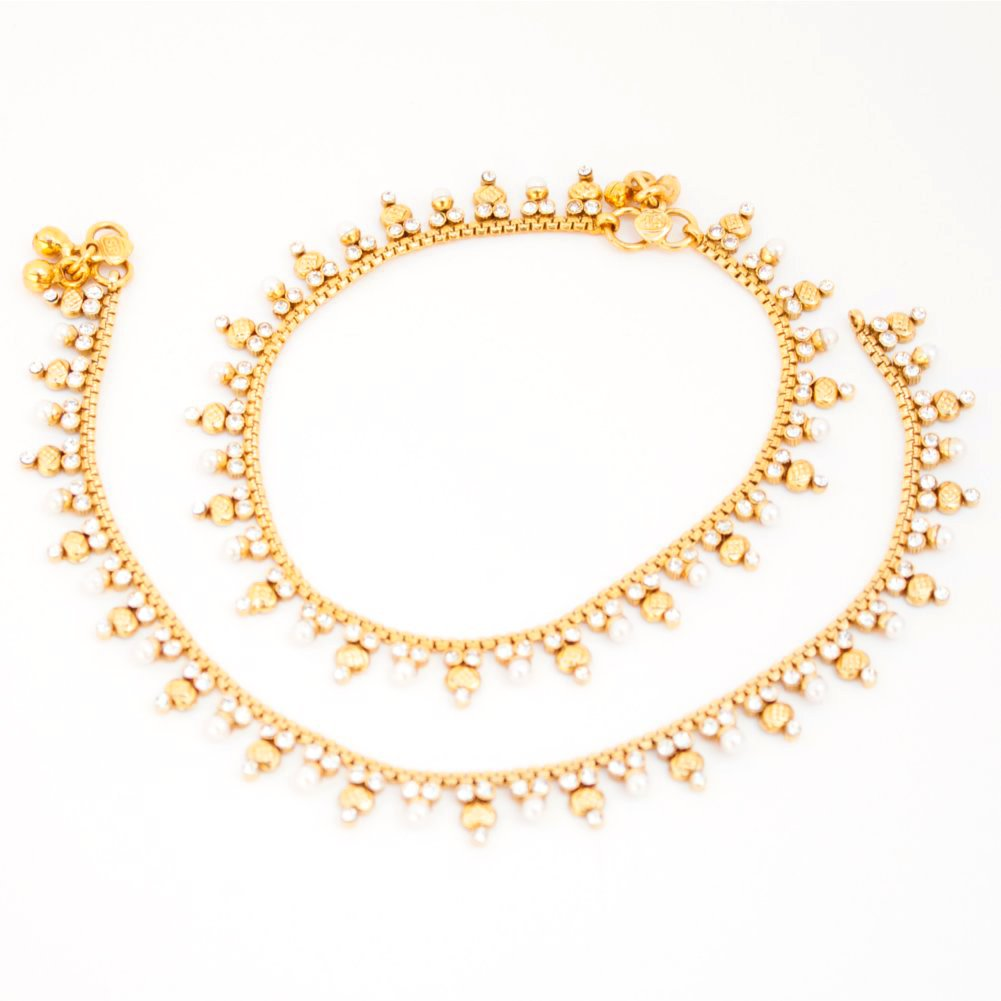 Bridal Indian Pakistani Ethnic Gold Plated Payal Anklet Pair with Soft Bells Tiny Pearls Cubic Zirconia B0150T71KC_US