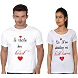 Adyk Cotton Couple T-shirts I Stole Her Heart So I Am Stealing His Last Name - Pack Of 2 (White)
