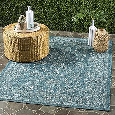 Safavieh Courtyard Collection CY8680-37221 Turquoise Indoor/ Outdoor Area Rug (8' x 11') - Fashionable all-weather design is perfect for outdoor use in the backyard, on the patio, porch, deck, or by the poolside This remarkably easy-care rug is also perfect for indoor living spaces prone to high-traffic areas Power-loomed from enhanced premium polypropylene fibers for virtually no shedding and durability - living-room-soft-furnishings, living-room, area-rugs - 61vnIyDNzjL. SS400  -