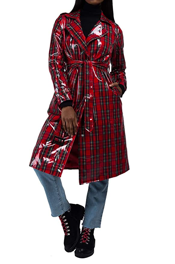 AKIRA Women's Patent Tartan Plaid Slick Wrap Raincoat Trenchcoat