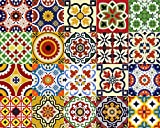 Backsplash Tile Stickers 24 PC Set Traditional Talavera Tiles Stickers Bathroom & Kitchen Tile Decals Easy to Apply Just Peel and Stick Home Decor 6x6 Inch (Kitchen Tiles Stickers D1)