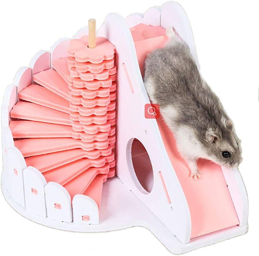 PIVBY - Escalera de Madera para hámster de Escalada, Juguete para ratón, Chinchilla, Rata, Gerbo y hámster Enano (Rosa)