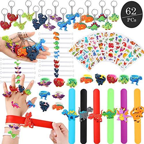62 PCs Dinosaur Party Favors for Boys, Dinosaur Keychains Slap Bracelets Dinosaur Ring Bracelet 3D Stickers, Dinosaur Birthday Party Favors for Kids ()